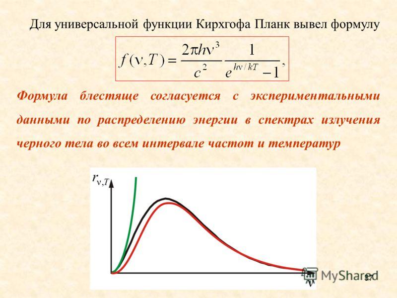 Другая форма записи формулы Планка 36