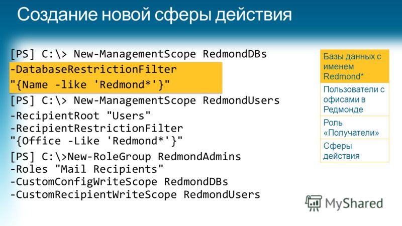 [PS] C:\> New-ManagementScope RedmondDBs -DatabaseRestrictionFilter