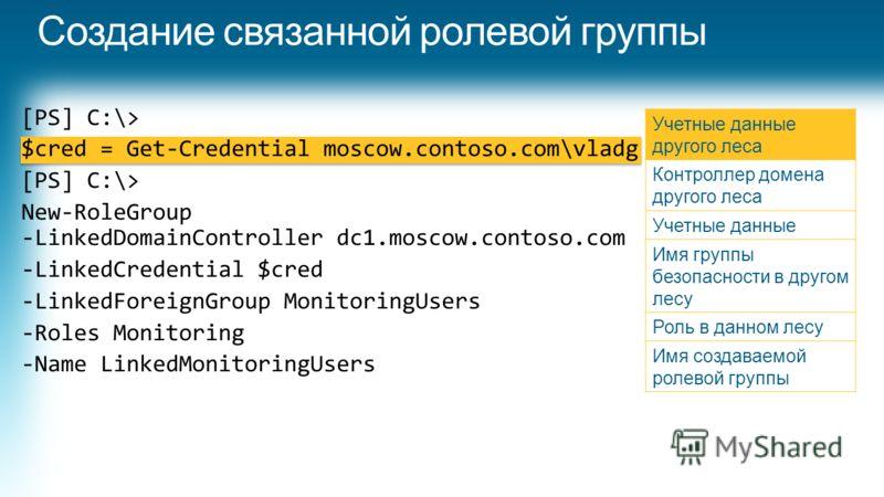 [PS] C:\> $cred = Get-Credential moscow.contoso.com\vladg [PS] C:\> New-RoleGroup -LinkedDomainController dc1.moscow.contoso.com -LinkedCredential $cred -LinkedForeignGroup MonitoringUsers -Roles Monitoring -Name LinkedMonitoringUsers Учетные данные