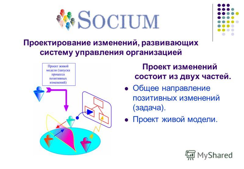 Проектирование изменений, развивающих систему управления организацией Проект изменений состоит из двух частей. Общее направление позитивных изменений (задача). Проект живой модели.