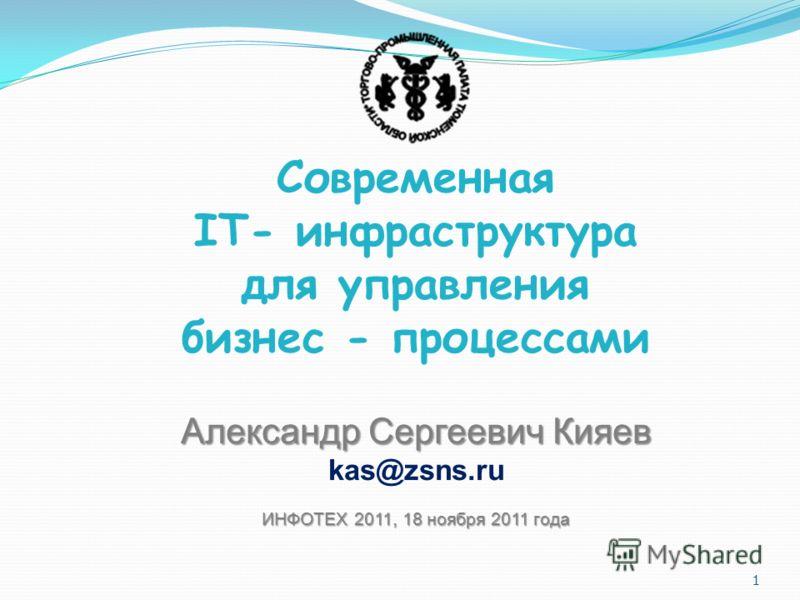 1 Современная IT- инфраструктура для управления бизнес - процессами Александр Сергеевич Кияев kas@zsns.ru ИНФОТЕХ 2011, 18 ноября 2011 года