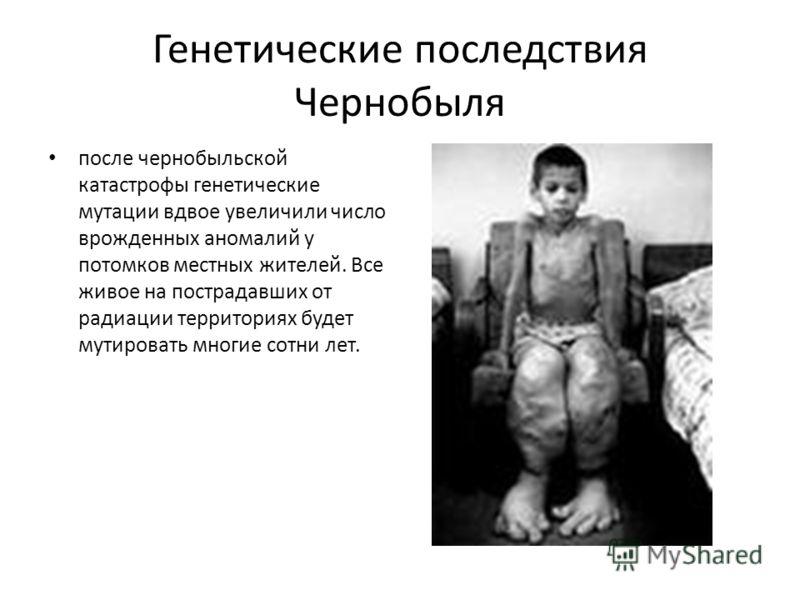Генетические последствия Чернобыля после чернобыльской катастрофы генетические мутации вдвое увеличили число врожденных аномалий у потомков местных жителей. Все живое на пострадавших от радиации территориях будет мутировать многие сотни лет.
