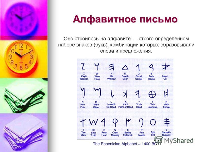 Алфавитное письмо Оно строилось на алфавите строго определённом наборе знаков (букв), комбинации которых образовывали слова и предложения.