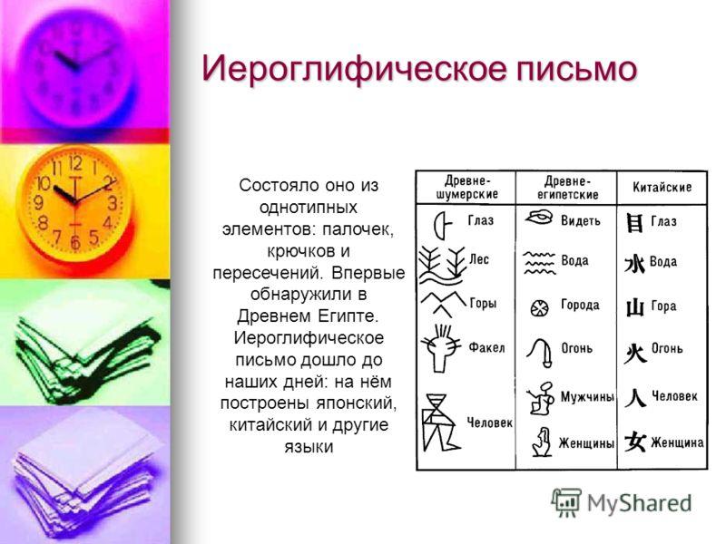 Иероглифическое письмо Состояло оно из однотипных элементов: палочек, крючков и пересечений. Впервые обнаружили в Древнем Египте. Иероглифическое письмо дошло до наших дней: на нём построены японский, китайский и другие языки