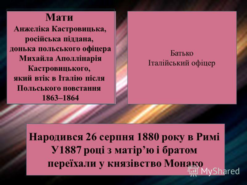 Мати Анжеліка Кастровицька, російська піддана, донька польського офіцера Михайла Аполлінарія Кастровицького, який втік в Італію після Польського повстання 1863–1864 Батько Італійський офіцер Народився 26 серпня 1880 року в Римі У1887 році з матірю і