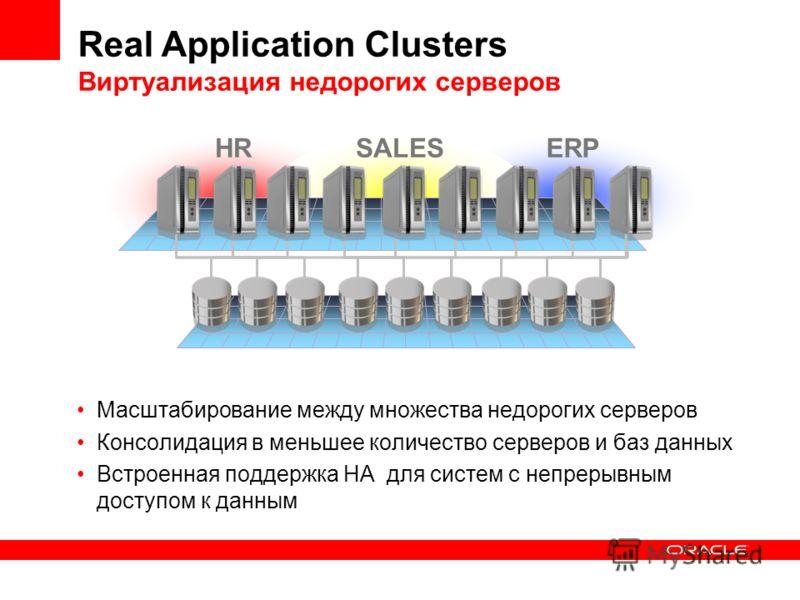 Масштабирование между множества недорогих серверов Консолидация в меньшее количество серверов и баз данных Встроенная поддержка HA для систем с непрерывным доступом к данным HRSALESERP Real Application Clusters Виртуализация недорогих серверов