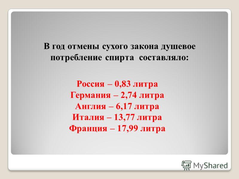 Россия – 0,83 литра Германия – 2,74 литра Англия – 6,17 литра Италия – 13,77 литра Франция – 17,99 литра В год отмены сухого закона душевое потребление спирта составляло: