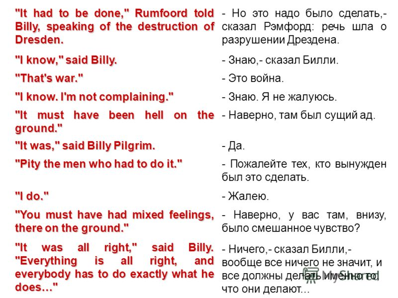 ''It had to be done,'' Rumfoord told Billy, speaking of the destruction of Dresden. - Но это надо было сделать,- сказал Рэмфорд: речь шла о разрушении Дрездена. ''I know,'' said Billy. - Знаю,- сказал Билли. ''That's war.'' - Это война. ''I know. I'm
