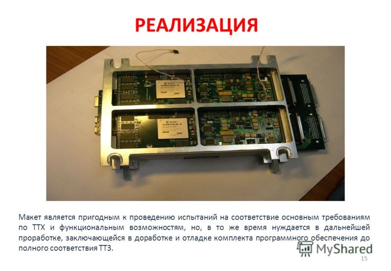 РЕАЛИЗАЦИЯ 15 Макет является пригодным к проведению испытаний на соответствие основным требованиям по ТТХ и функциональным возможностям, но, в то же время нуждается в дальнейшей проработке, заключающейся в доработке и отладке комплекта программного о
