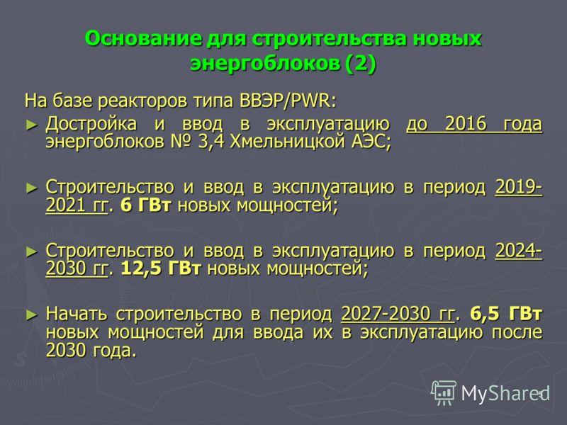 5 Основание для строительства новых энергоблоков (2) На базе реакторов типа ВВЭР/PWR: Достройка и ввод в эксплуатацию до 2016 года энергоблоков 3,4 Хмельницкой АЭС; Достройка и ввод в эксплуатацию до 2016 года энергоблоков 3,4 Хмельницкой АЭС; Строит