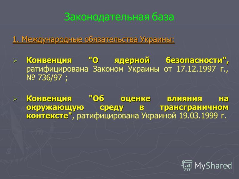 6 Законодательная база 1. Международные обязательства Украины: Конвенция
