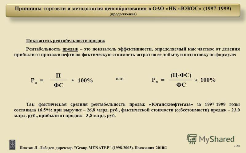 Т -32 Принципы торговли и методология ценообразования в ОАО «НК «ЮКОС» (1997-1999) (продолжение) или P п = П 100% ФС * P п = ( Ц - ФС ) 100% ФС * Показатель рентабельности продаж Рентабельность продаж – это показатель эффективности, определяемый как