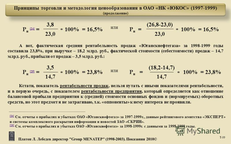 Принципы торговли и методология ценообразования в ОАО «НК «ЮКОС» (1997-1999) (продолжение) Т -33 А вот, фактическая средняя рентабельность продаж «Юганскнефтегаза» за 1998-1999 годы составила 23,8%, при выручке – 18,2 млрд. руб., фактической стоимост