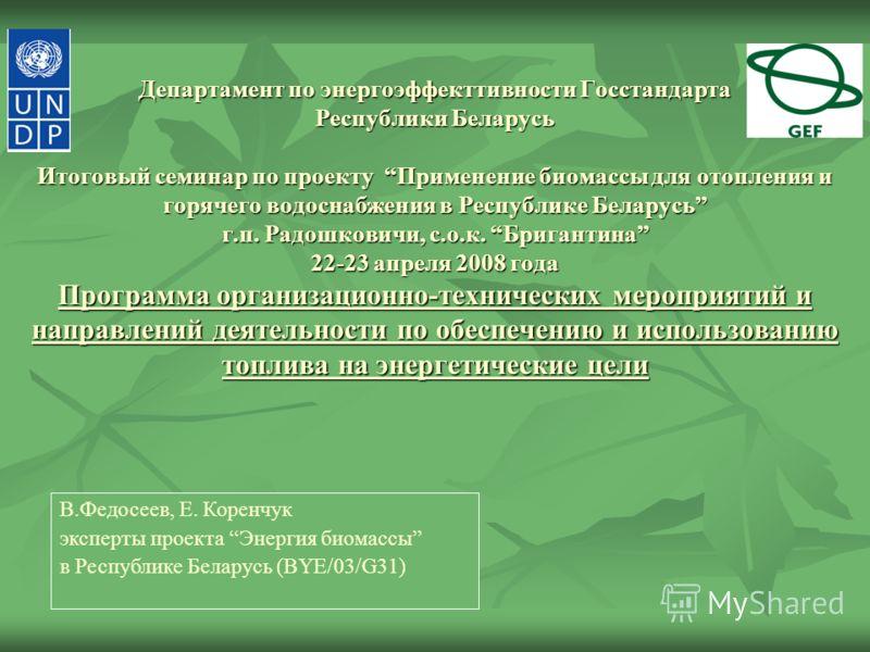 Департамент по энергоэффекттивности Госстандарта Республики Беларусь Итоговый семинар по проекту Применение биомассы для отопления и горячего водоснабжения в Республике Беларусь г.п. Радошковичи, с.о.к. Бригантина 22-23 апреля 2008 года Программа орг