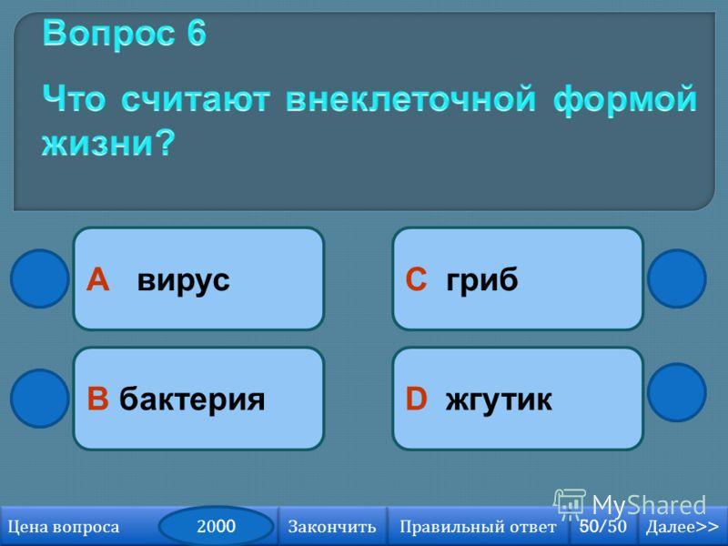 А вирусC гриб D жгутикB бактерия Далее >> Далее >> 50/50 Правильный ответ Цена вопроса Закончить 2000