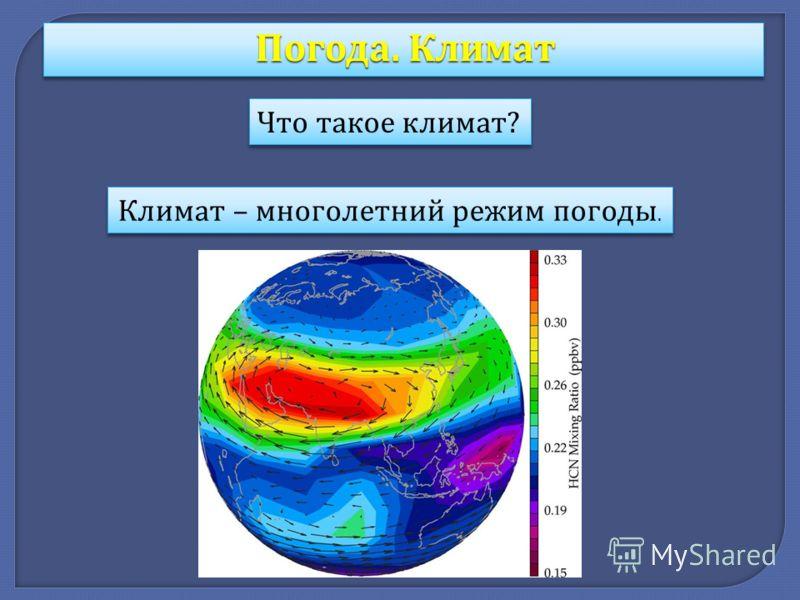 Погода. Климат Что такое климат ? Климат – многолетний режим погоды.