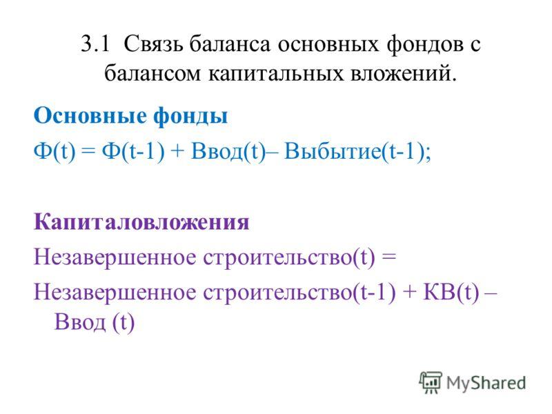 3.1 Связь баланса основных фондов с балансом капитальных вложений. Основные фонды Ф(t) = Ф(t-1) + Ввод(t)– Выбытие(t-1); Капиталовложения Незавершенное строительство(t) = Незавершенное строительство(t-1) + КВ(t) – Ввод (t)