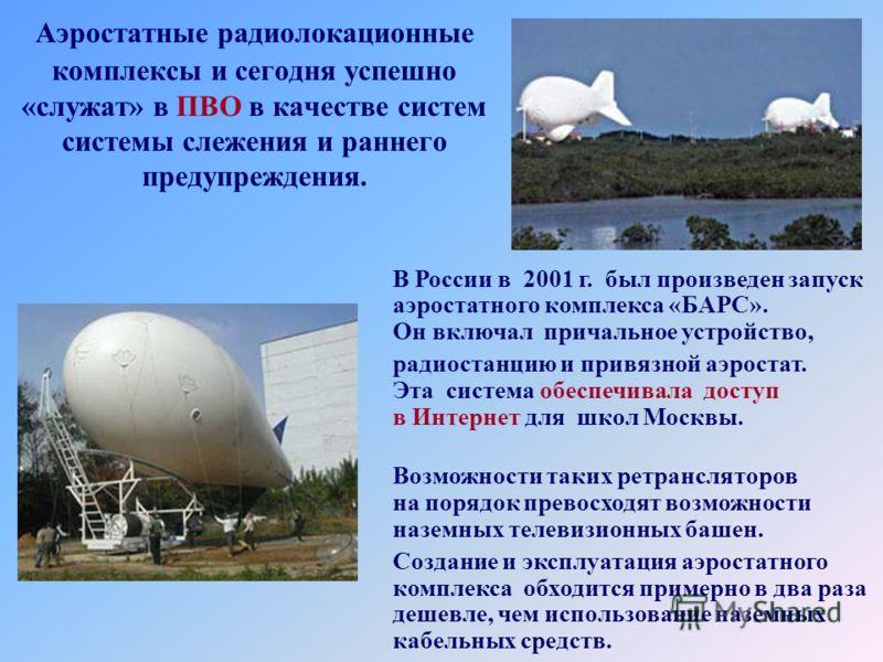 Аэростатные радиолокационные комплексы и сегодня успешно «служат» в ПВО в качестве систем системы слежения и раннего предупреждения. В России в 2001 г. был произведен запуск аэростатного комплекса «БАРС». Он включал причальное устройство, радиостанци