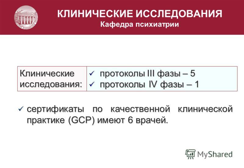 КЛИНИЧЕСКИЕ ИССЛЕДОВАНИЯ Кафедра психиатрииКлиническиеисследования: протоколы III фазы – 5 протоколы III фазы – 5 протоколы IV фазы – 1 протоколы IV фазы – 1 сертификаты по качественной клинической практике (GCP) имеют 6 врачей. сертификаты по качест