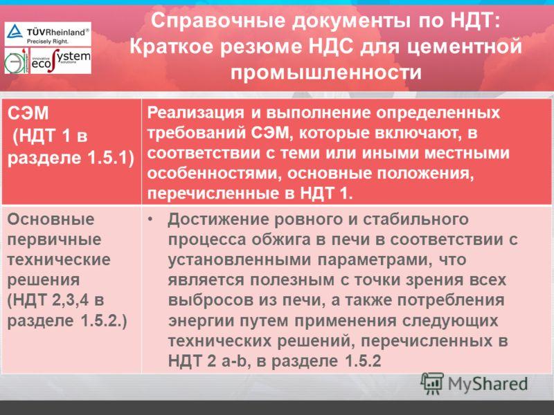 Cправочные документы по НДТ: Краткое резюме НДС для цементной промышленности СЭМ (НДТ 1 в разделе 1.5.1) Реализация и выполнение определенных требований СЭМ, которые включают, в соответствии с теми или иными местными особенностями, основные положения