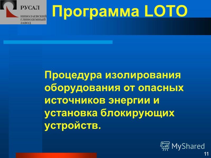 Программа LOTO Процедура изолирования оборудования от опасных источников энергии и установка блокирующих устройств. 11
