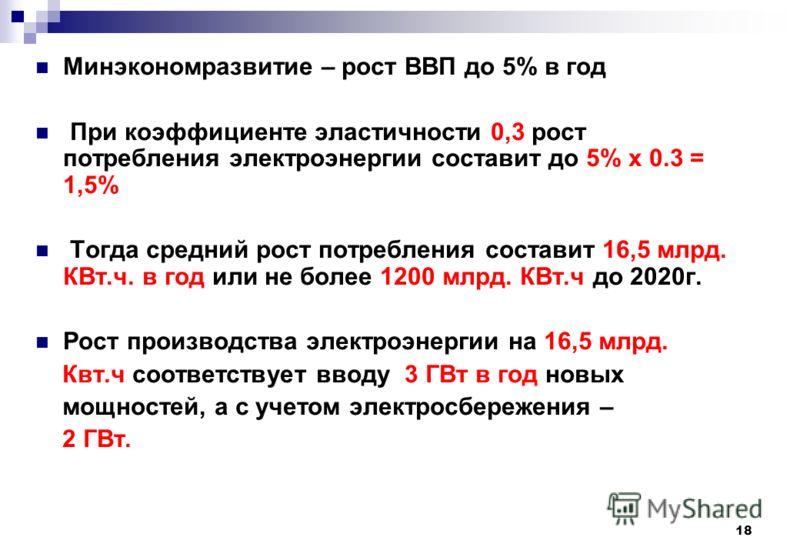 18 Минэкономразвитие – рост ВВП до 5% в год При коэффициенте эластичности 0,3 рост потребления электроэнергии составит до 5% x 0.3 = 1,5% Тогда средний рост потребления составит 16,5 млрд. КВт.ч. в год или не более 1200 млрд. КВт.ч до 2020г. Рост про