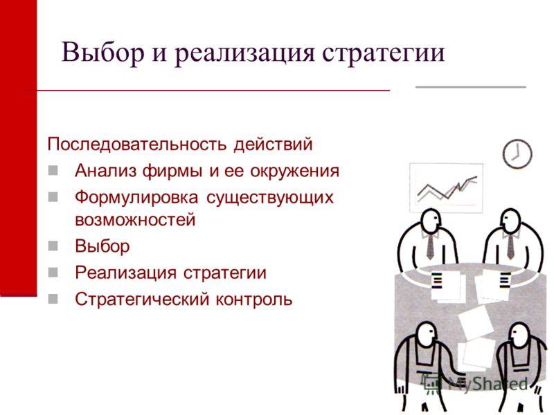 Выбор и реализация стратегии Последовательность действий Анализ фирмы и ее окружения Формулировка существующих возможностей Выбор Реализация стратегии Стратегический контроль