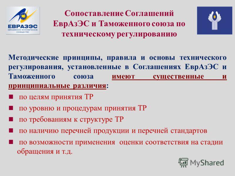 Сопоставление Соглашений ЕврАзЭС и Таможенного союза по техническому регулированию Методические принципы, правила и основы технического регулирования, установленные в Соглашениях ЕврАзЭС и Таможенного союза имеют существенные и принципиальные различи