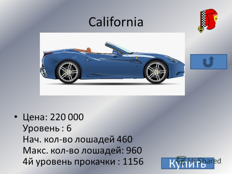Enzo уровень:9 цена: 670 000+ 10 золотых монет нач. кол-во лошадей: 651 макс. кол-во лошадей: 1015 4й уровень прокачки: 1161 Купить