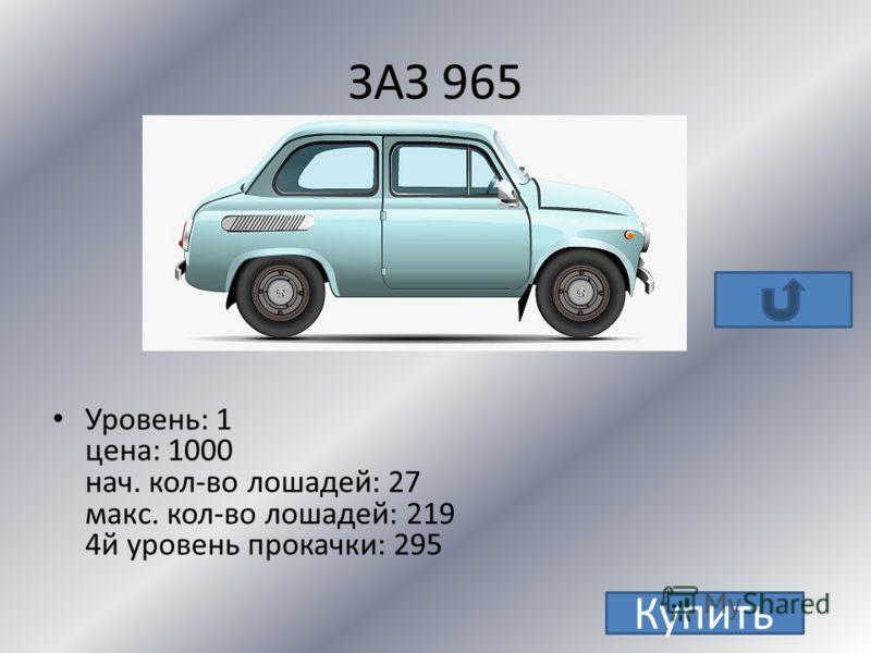 ГАЗ 31105 Уровень: 2 цена: 9000 нач. кол-во лошадей: 100 макс. кол-во лошадей: 413 4й уровень прокачки: 535 Купить