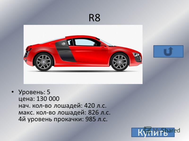 TT S Уровень: 4 цена: 60000 нач. кол-во лошадей: 250 макс. кол-во лошадей: 601 Купить