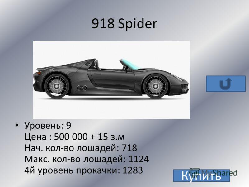 Cayenne S Уровень 4 цена:100000 нач. кол-во лошадей: 300 макс. кол-во лошадей:800 4й уровень прокачки: 996 Купить