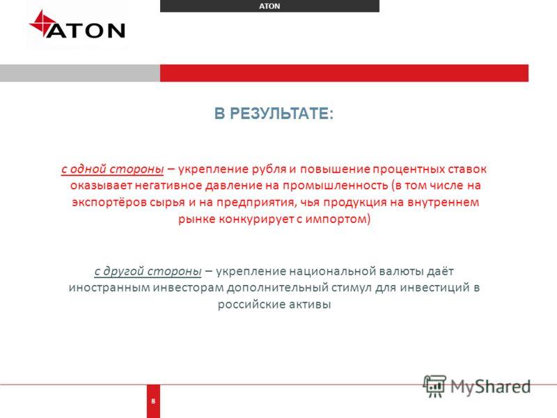ATON 8 В РЕЗУЛЬТАТЕ: с одной стороны – укрепление рубля и повышение процентных ставок оказывает негативное давление на промышленность (в том числе на экспортёров сырья и на предприятия, чья продукция на внутреннем рынке конкурирует с импортом) с друг