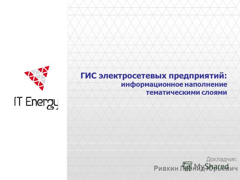 ГИС электросетевых предприятий: информационное наполнение тематическими слоями Докладчик: Ривкин Леонид Юрьевич