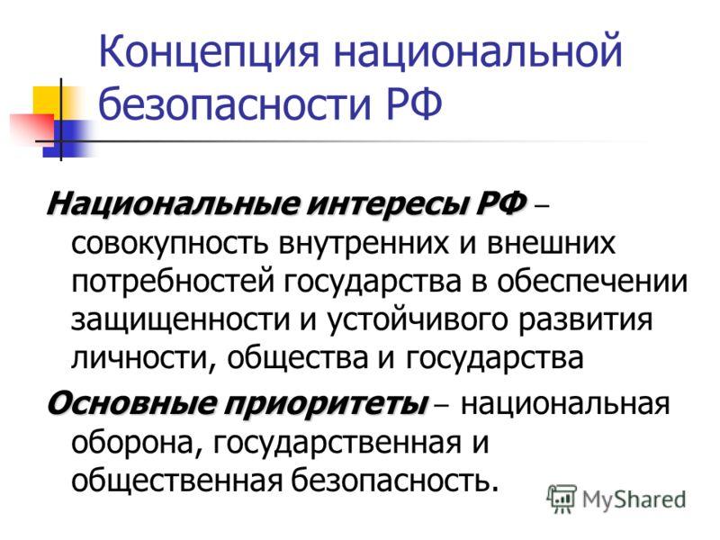 Концепция национальной безопасности РФ Национальные интересы РФ Национальные интересы РФ совокупность внутренних и внешних потребностей государства в обеспечении защищенности и устойчивого развития личности, общества и государства Основные приоритеты