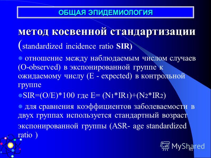 40 метод прямой стандартизации для сравнения коэффициентов заболеваемости в двух группах используется стандартный возраст внутригрупповой, межгрупповой, международный отношение стандартизованных коэффициентов заболеваемости представлено формулой (R1.