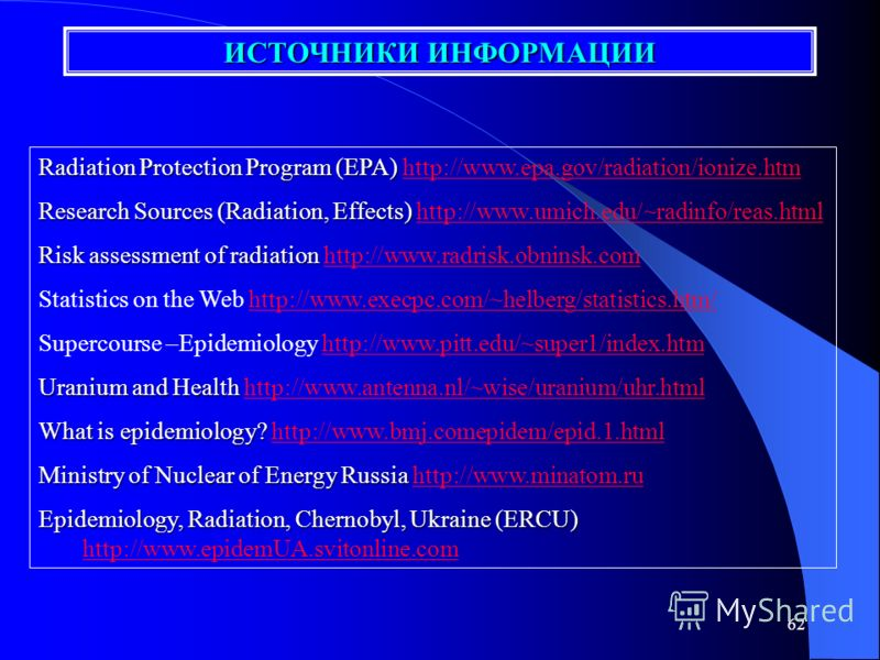 61 International Journal of Epidemiology - http://www.ije.oupjournals.orghttp://www.ije.oupjournals.org Ionizing Radiation, Health Effects Ionizing Radiation, Health Effects http://www.epa.gov/radiationhttp://www.epa.gov/radiation Lessons of Hiroshim