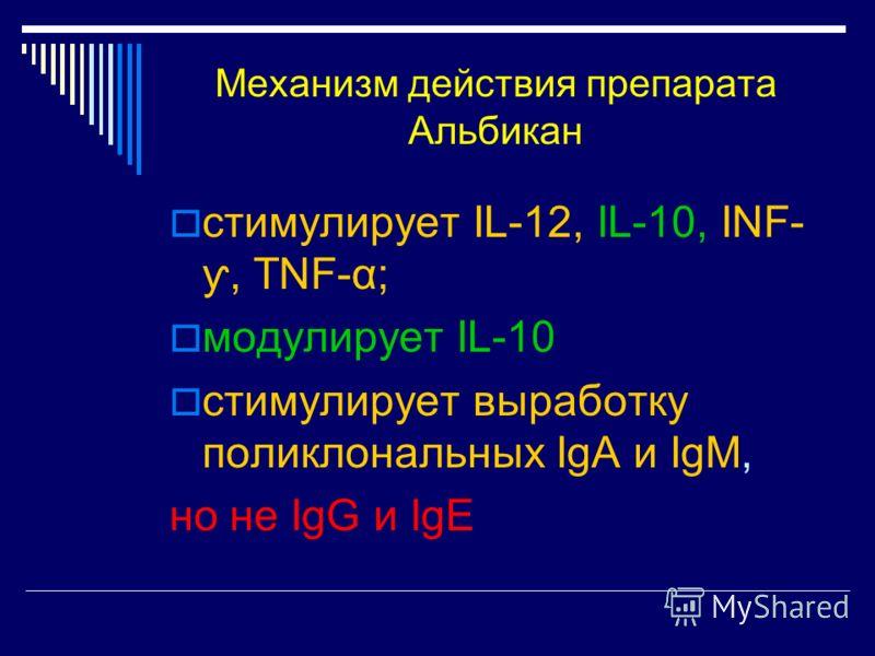 Механизм действия препарата Альбикан стимулирует IL-12, IL-10, INF- ƴ, TNF-α; модулирует IL-10 стимулирует выработку поликлональных IgA и IgM, но не IgG и IgE