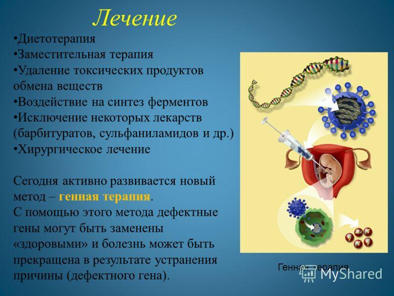 Лечение Диетотерапия Заместительная терапия Удаление токсических продуктов обмена веществ Воздействие на синтез ферментов Исключение некоторых лекарств (барбитуратов, сульфаниламидов и др.) Хирургическое лечение Сегодня активно развивается новый мето
