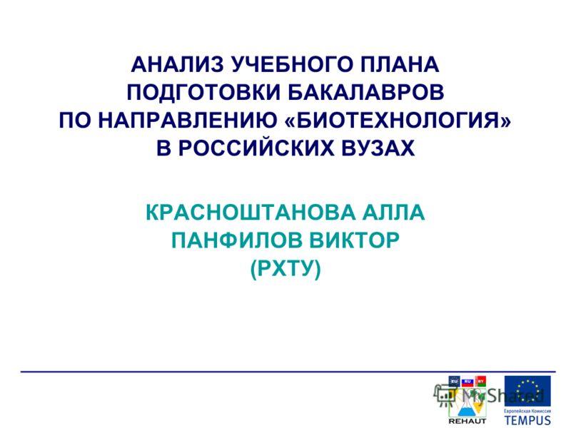 АНАЛИЗ УЧЕБНОГО ПЛАНА ПОДГОТОВКИ БАКАЛАВРОВ ПО НАПРАВЛЕНИЮ «БИОТЕХНОЛОГИЯ» В РОССИЙСКИХ ВУЗАХ КРАСНОШТАНОВА АЛЛА ПАНФИЛОВ ВИКТОР (РХТУ)