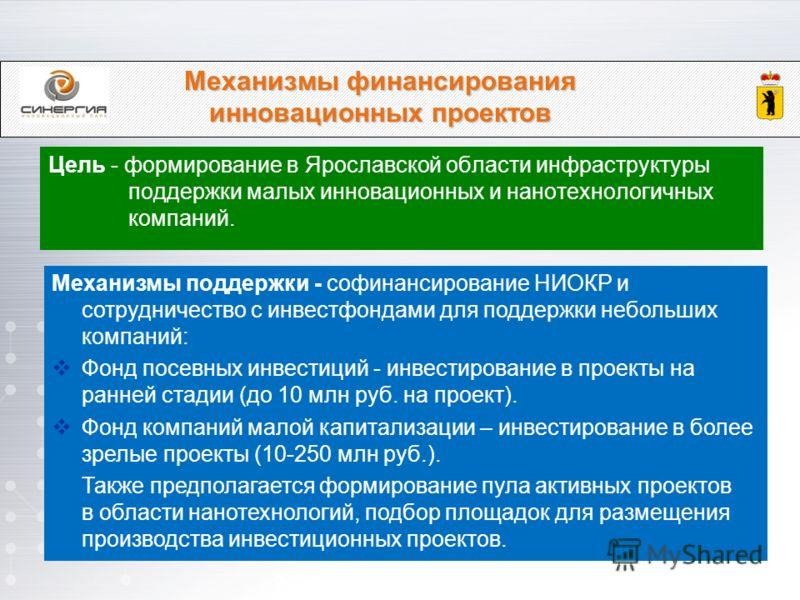 Механизмы финансирования инновационных проектов Цель - формирование в Ярославской области инфраструктуры поддержки малых инновационных и нанотехнологичных компаний. Механизмы поддержки - софинансирование НИОКР и сотрудничество с инвестфондами для под