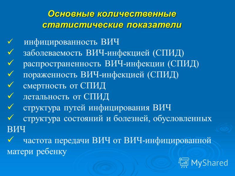 инфицированность ВИЧ заболеваемость ВИЧ-инфекцией (СПИД) распространенность ВИЧ-инфекции (СПИД) пораженность ВИЧ-инфекцией (СПИД) смертность от СПИД летальность от СПИД структура путей инфицирования ВИЧ структура состояний и болезней, обусловленных В