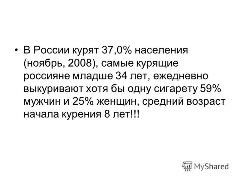 В России курят 37,0% населения (ноябрь, 2008), самые курящие россияне младше 34 лет, ежедневно выкуривают хотя бы одну сигарету 59% мужчин и 25% женщин, средний возраст начала курения 8 лет!!!