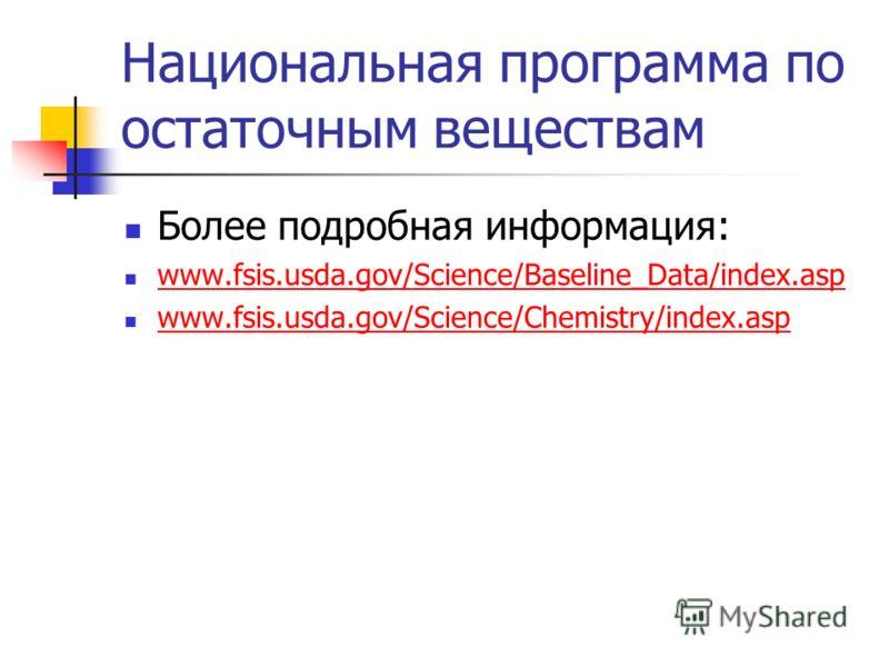 Национальная программа по остаточным веществам Более подробная информация: www.fsis.usda.gov/Science/Baseline_Data/index.asp www.fsis.usda.gov/Science/Chemistry/index.asp