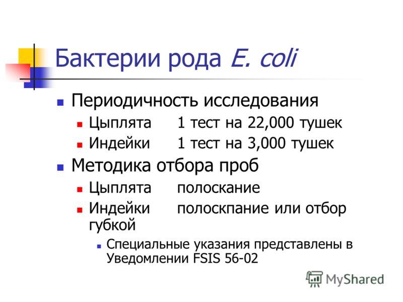 Бактерии рода E. coli Периодичность исследования Цыплята1 тест на 22,000 тушек Индейки1 тест на 3,000 тушек Методика отбора проб Цыплятаполоскание Индейкиполоскпание или отбор губкой Специальные указания представлены в Уведомлении FSIS 56-02