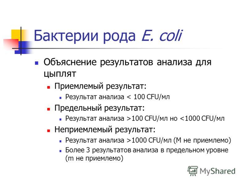 Бактерии рода E. coli Объяснение результатов анализа для цыплят Приемлемый результат: Результат анализа < 100 CFU/мл Предельный результат: Результат анализа >100 CFU/мл но 1000 CFU/мл (M не приемлемо) Более 3 результатов анализа в предельном уровне (