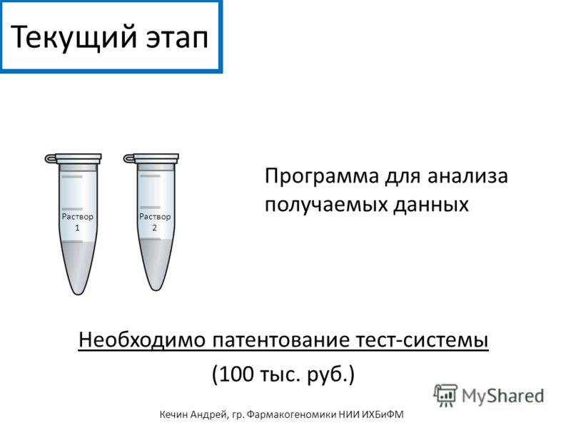 Текущий этап Раствор 1 Раствор 2 Необходимо патентование тест-системы (100 тыс. руб.) Кечин Андрей, гр. Фармакогеномики НИИ ИХБиФМ Программа для анализа получаемых данных