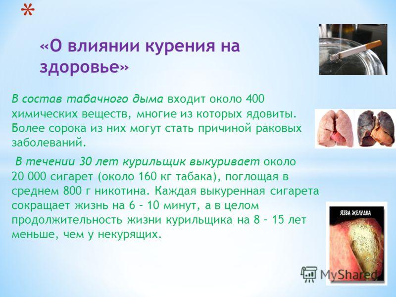 В состав табачного дыма входит около 400 химических веществ, многие из которых ядовиты. Более сорока из них могут стать причиной раковых заболеваний. В течении 30 лет курильщик выкуривает около 20 000 сигарет (около 160 кг табака), поглощая в среднем