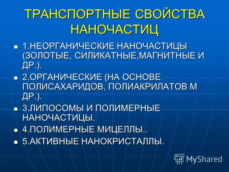 ТРАНСПОРТНЫЕ СВОЙСТВА НАНОЧАСТИЦ 1.НЕОРГАНИЧЕСКИЕ НАНОЧАСТИЦЫ (ЗОЛОТЫЕ, СИЛИКАТНЫЕ,МАГНИТНЫЕ И ДР.). 1.НЕОРГАНИЧЕСКИЕ НАНОЧАСТИЦЫ (ЗОЛОТЫЕ, СИЛИКАТНЫЕ,МАГНИТНЫЕ И ДР.). 2.ОРГАНИЧЕСКИЕ (НА ОСНОВЕ ПОЛИСАХАРИДОВ, ПОЛИАКРИЛАТОВ М ДР.). 2.ОРГАНИЧЕСКИЕ (НА