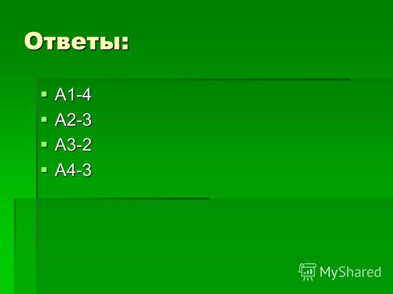 Ответы: А1-4 А1-4 А2-3 А2-3 А3-2 А3-2 А4-3 А4-3